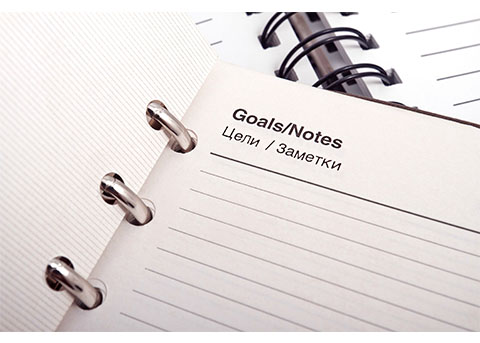 Blank goal setting notebook.